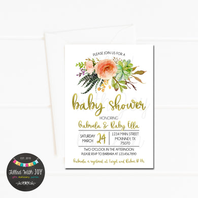 Watercolor Boho Floral Invitation