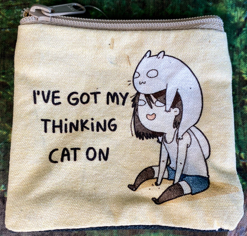 Thinking Cat On Cotton Coin Purse