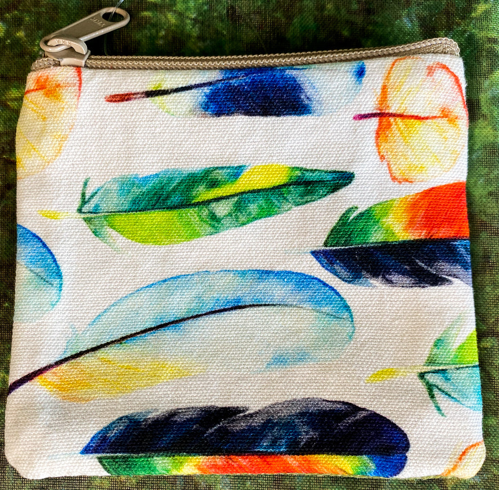 Colorful Feather Cotton Coin Purse