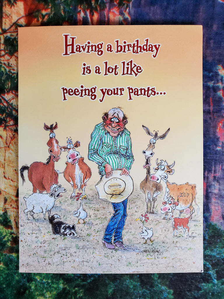 Peeing Your Pants Birthday Card