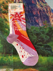 I'm a Girl, What's Your Super Power? - Women's Crew Sock