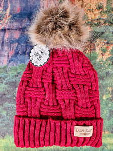 Plush Lined Knit Hat with Pom-Pom