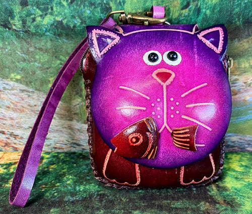 Cat with Fish Leather Wristlet