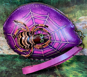 Spider with Web Leather Wristlet