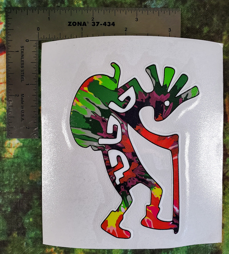 Kokopelli Hiker Tie Dye Sticker