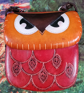 Red Owl Large Leather Purse