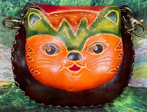 Orange Cat Small Leather Purse