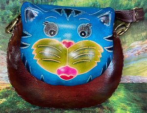 Blue Cat Small Leather Purse