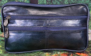 Leather Wristlett - Navy