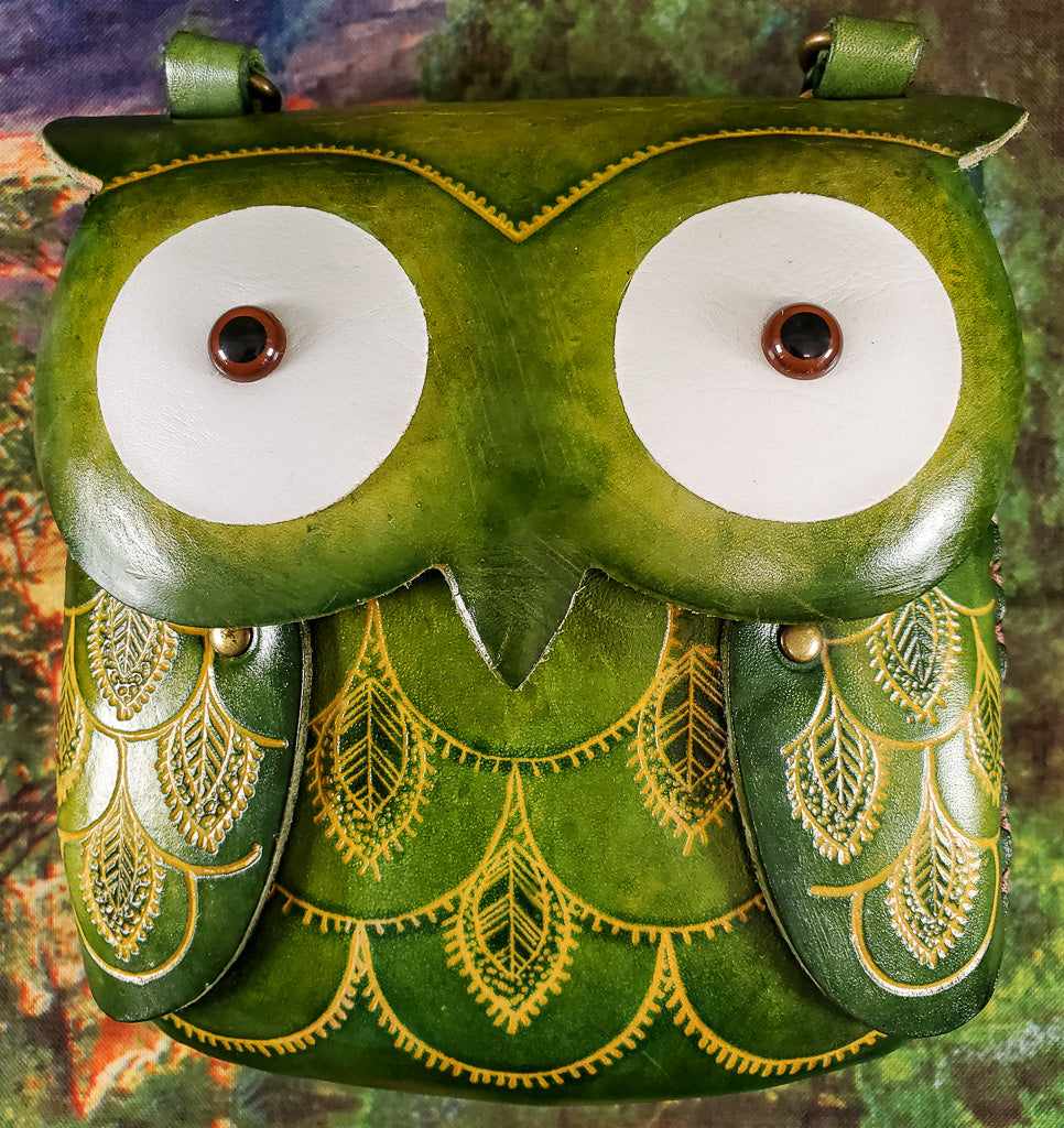 Green Eyed Owl Large Leather Purse