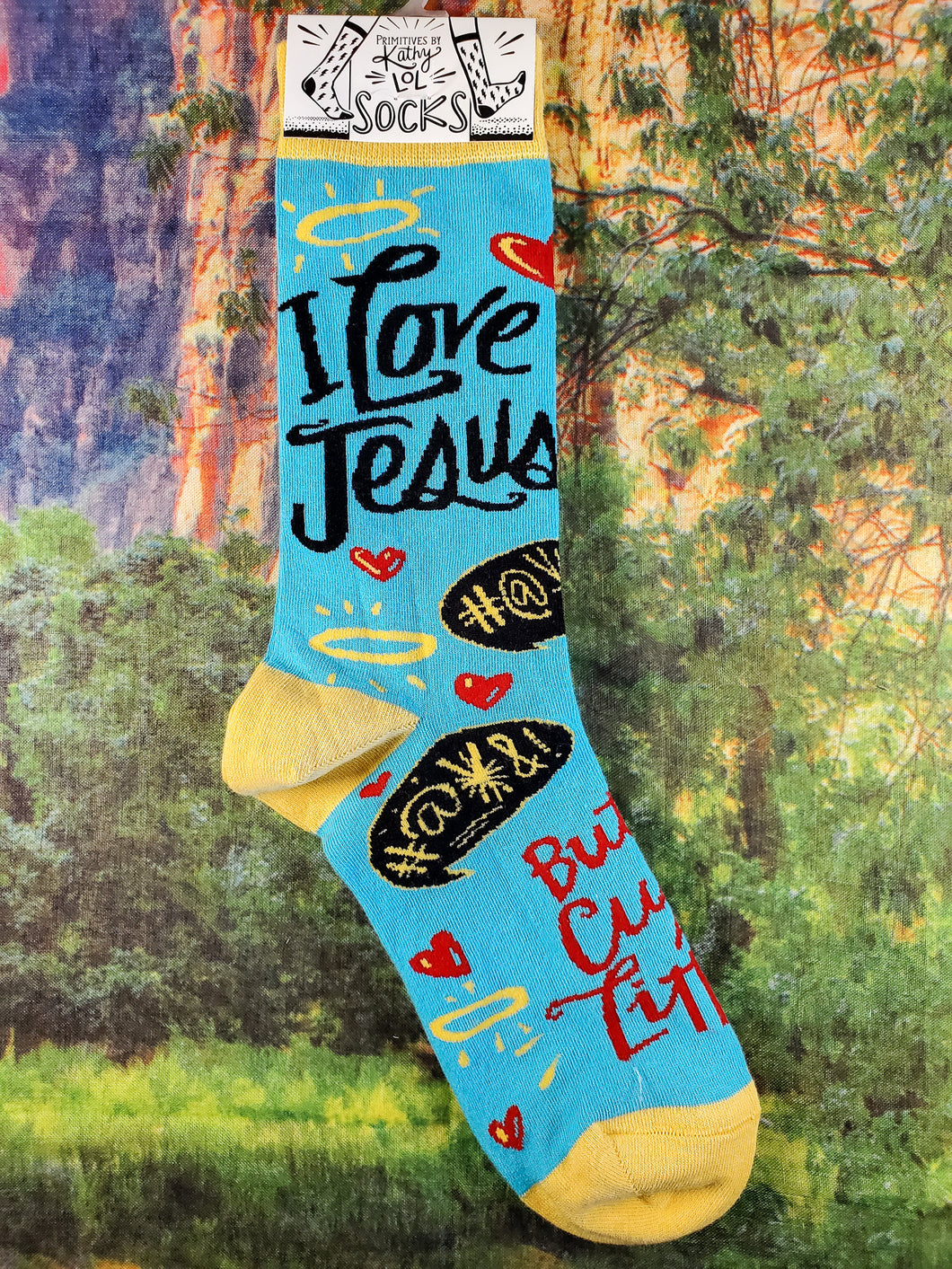 I Love Jesus But I Cuss a Little - Crew Socks