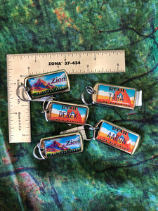 "Personalized Zion, Utah License Plate Key chain ""D"" to ""J"""
