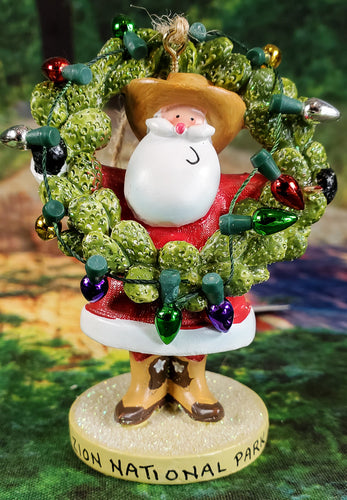 Santa Claus Cactus Wreath Ornament