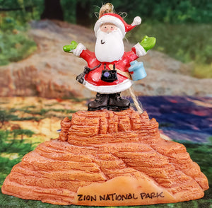 Santa On Red Rock Ornament