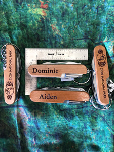 "Personalized Zion Cherry Knife-Multi Tool ""M"" to ""Z"" and Generic"