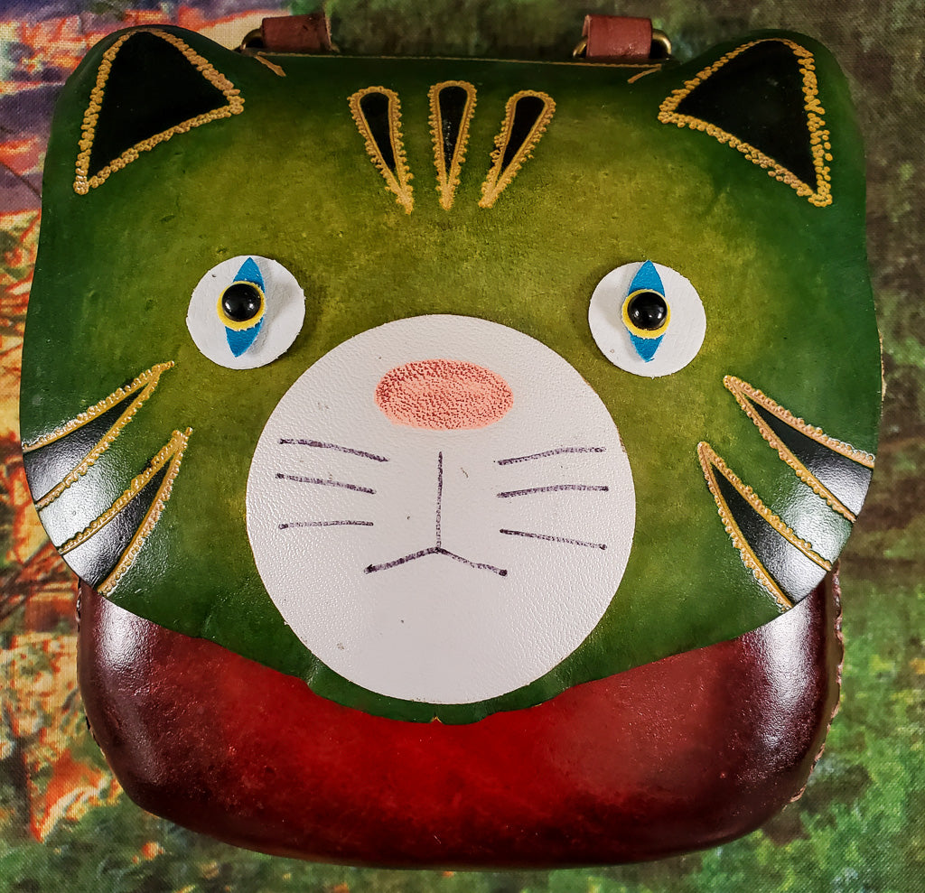 Green Faced Cat Large Leather Purse