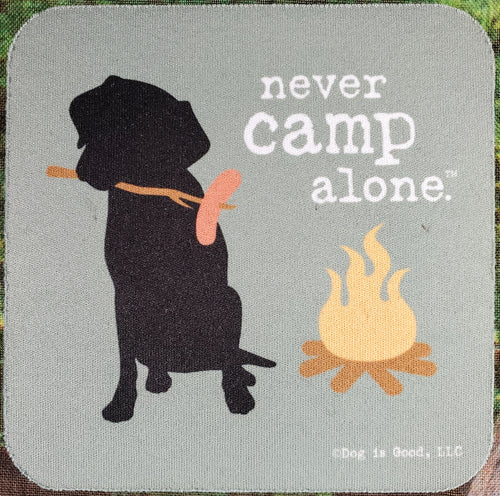 Never Camp Alone Sassy Drink Coaster