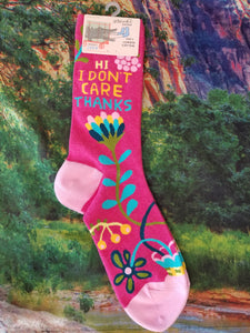 Hi, I Don't Care, Thanks - Women's Crew Socks