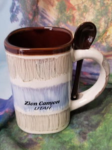 Drip Glaze Square Mug with Spoon
