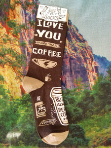 Love You More Than Coffee Crew Sock