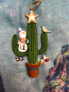 Santa on Cactus Zion Ornament