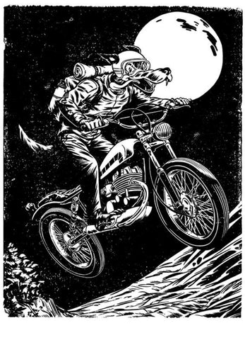 Moto Wolf Screen Print