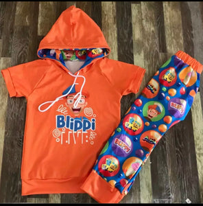 Orange Blippi Hoodie Set
