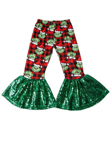 Grinch Holiday Glam Bell Bottoms - RTS