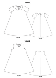 George tent dress sewing pattern. Designed by an independent pattern company. Flat sketches. View A with collar and inset sleeves. View B is sleeveless and collarless.