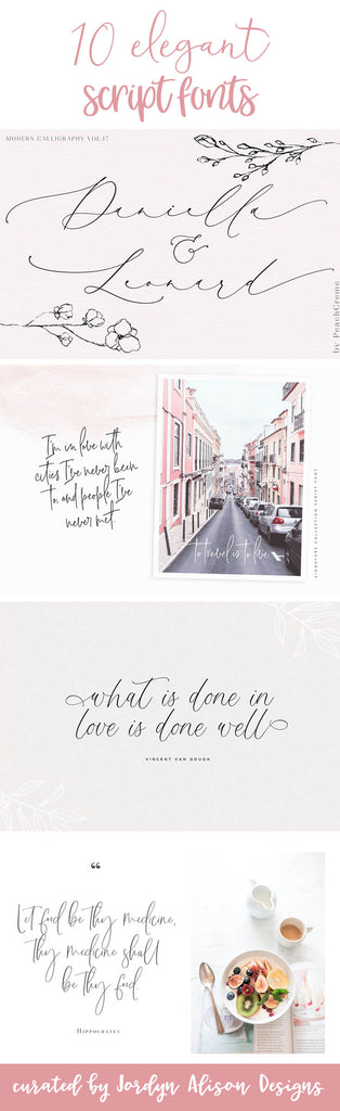 Ten elegant script fonts curated by Jordyn Alison Designs