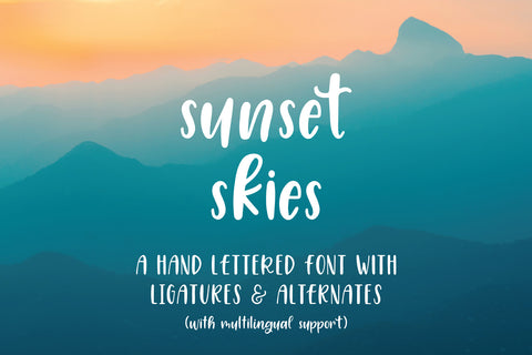 sunset skies hand lettered font