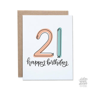 happy birthday 21 card