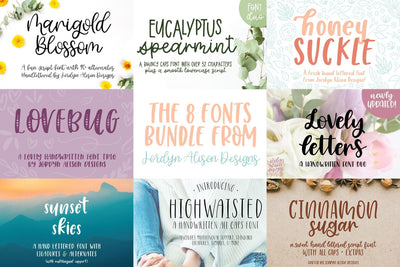 8 Hand Lettered Fonts Bundle