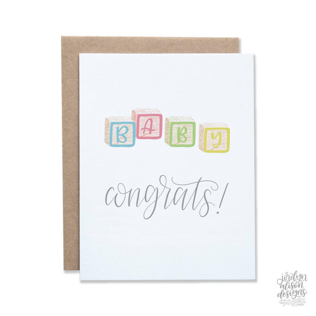 congrats baby blocks greeting card