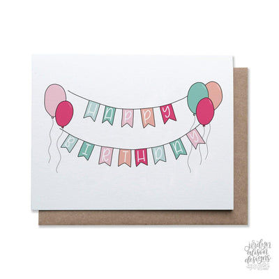 happy birthday banner greeting card