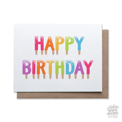 happy birthday popsicle greeting card