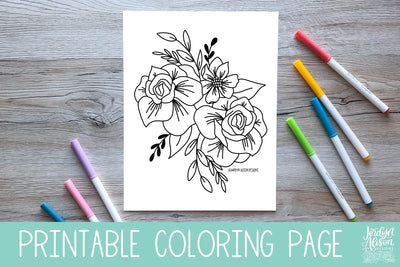 Floral Diamond Coloring Page