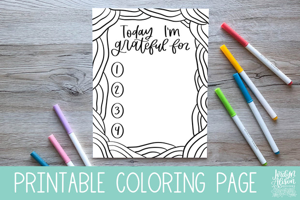 Grateful Coloring Page