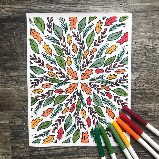 Fall coloring page fully colored with pens