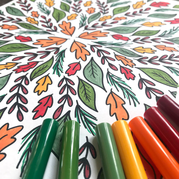 Portion of Fall coloring page fully colored with pens