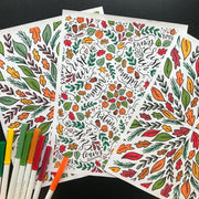 Three Fall fully colored coloring pages with pens