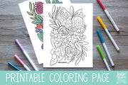 Loose Florals Coloring Page