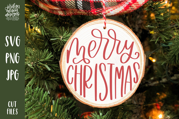 "Handwritten text ""Merry Christmas"" on Round Christmas Ornament."