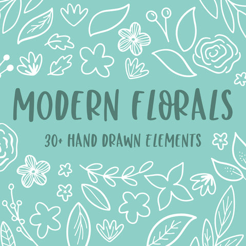 modern florals hand drawn elements