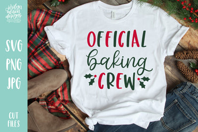 "White T-shirt with handwritten text ""Official Baking Crew"""