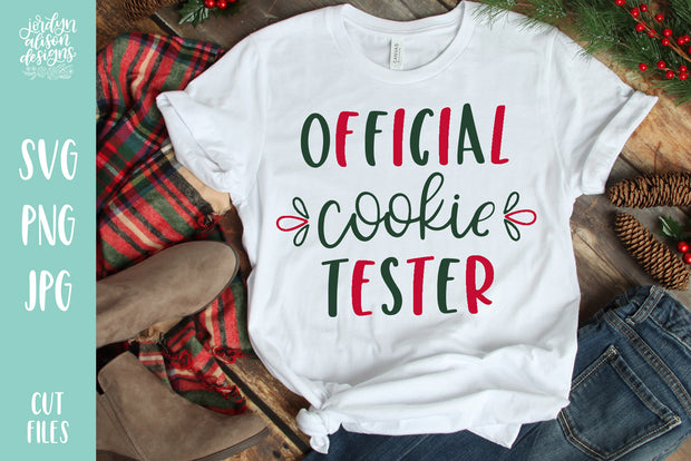 "White T-shirt with handwritten text ""Official Cookie Tester"""
