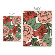 Painted Coral Roses Print