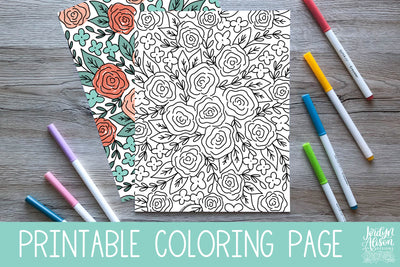 Roses Pattern Coloring Page