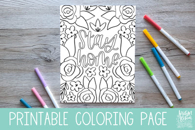Stay Home Coloring Page