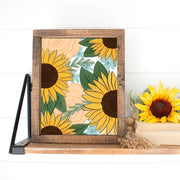 Sunflower and Peach Roses Print